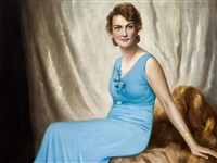 woman in blue dress by franz kienmayer