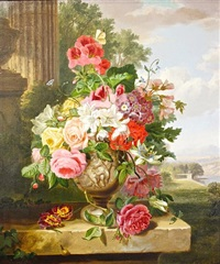 still life of roses and other flowers in a classical urn, before a vista by john wainwright