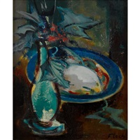 still life with plate and flower vase by joseph floch