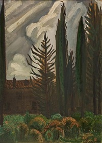 house with cypresses (+ tree trunks; 2 works) by valias semertzides