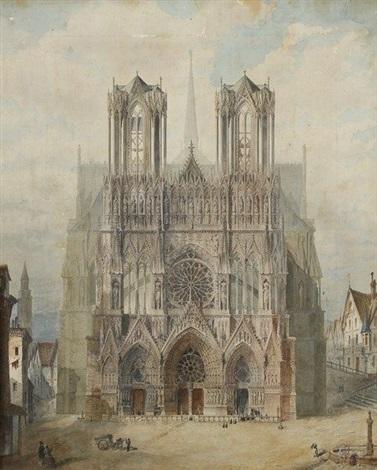 vue de la cathédrale de reims by françois etienne villeret