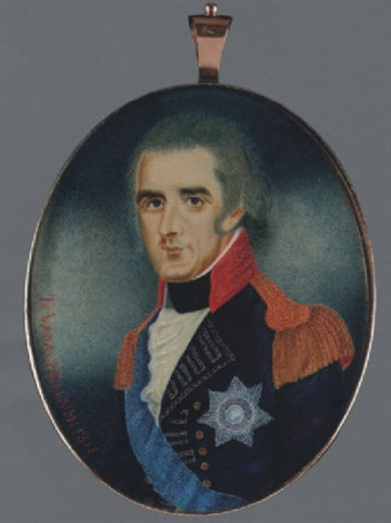 richard colley wellesley 1st marquess wellesley wearing blue uniform with red collar silver lace gold epaulettes breast star and blue sash by t vadachellum