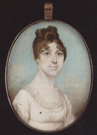 a lady, with hair upswept, wearing décolleté white dress with frilled gauze trim by edward nash