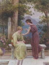 maidens in an italianate garden by gilbert bryce