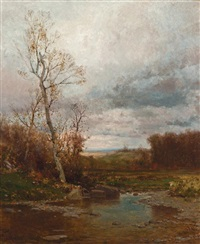 rocky stream in autumn by jervis mcentee