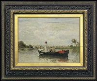 couple in a boat by heinrich rasch
