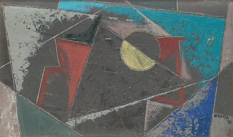 komposition mit gelbem halbkreis by erhard hippold