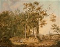 berger et ses moutons en lisière de forêt by henri-joseph antonissen