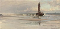 a fishing boat pushing out to sea by hamilton macallum
