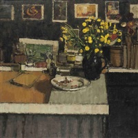 chrysanthemums in the studio by william brooker