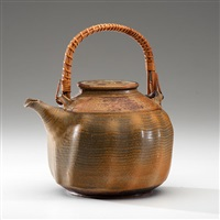 early and rare lobed teapot with handle by ralph bacerra