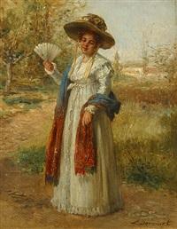 vrouw met waaier op een zomerse dag by léon marie constant dansaert