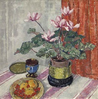 a still life with cyclamen and clementines by jeka kemp