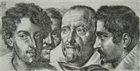 etude de quatre têtes (study) by ottavio maria leoni