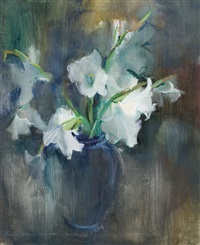 still life with vase of white gladioli by louis van heerden