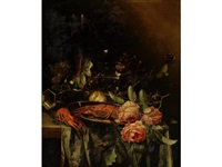 a still life of crayfish and roses on a pewter plate, grapes, a roemer, a tall glass beaker of red wine, a partly peeled lemon, an overturned pewter cup and a butterfly on a green cloth draped on a marble ledge by harmen loeding