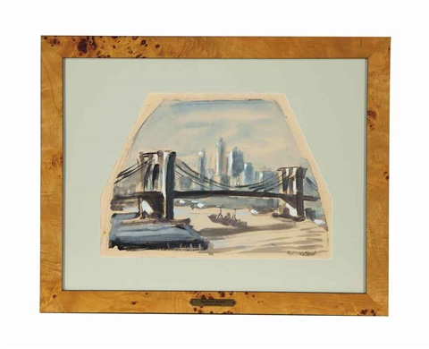 brooklyn bridge and untitled 2 works 3 works by reginald marsh