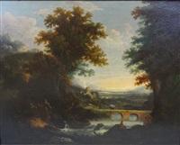 paysage italien avec artistes près de la rivière by george smith of chichester