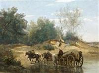 forêt de fontainebleau, le gué by jean-baptiste-camille corot