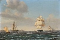 sailing ships out shore kronborg castle by carl ludwig bille