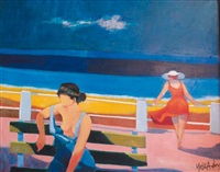 femmes en bord de mer by yves aubry