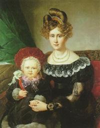 portrait d'une jeune mère et de son enfant by henri-joseph hesse