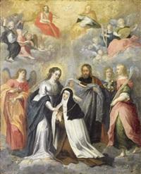 la vierge remettant un collier à sainte thérèse d'avila by pieter lisaert iv