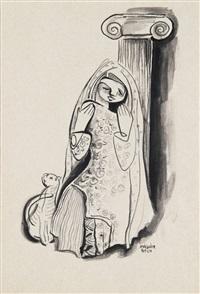 girl with a cat by béla kádár