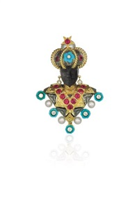 a gold, ruby, diamond, turquoise and cultured pearl brooch by nardi