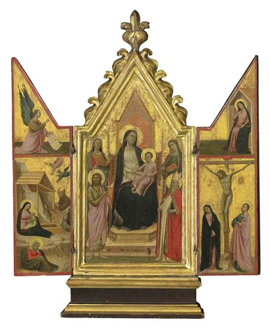 the madonna and child enthroned with saints the nativity with the angel of the annunciation the crucifixion with virgin annunciate triptych by taddeo gaddi