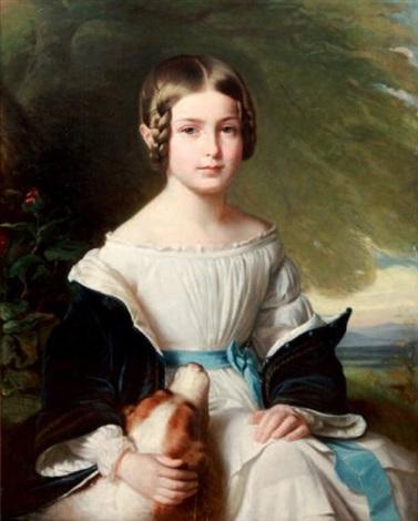portrait dune jeune fille avec son chien by franz xaver winterhalter
