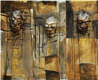 parade of masks (triptych) by putu sutawijaya