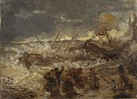 hochwasser und orkan auf dem rhein by karl böker