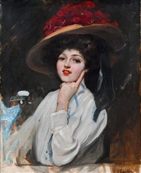 portrait of a young lady in a hat by josé marie de la bastida y fernandez