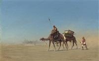 une caravane, désert d'arabie by charles théodore (frère bey) frère