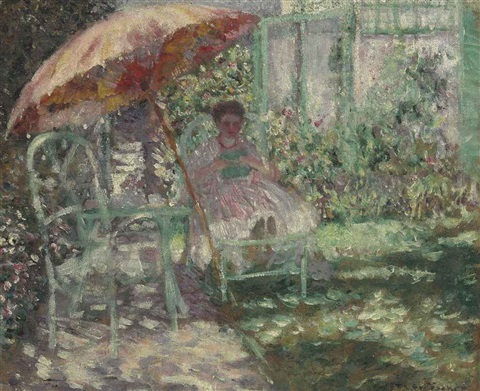 the garden parasol study by frederick carl frieseke