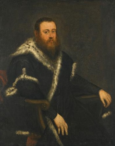 portrait of a bearded man in a black robe with fur by jacopo robusti tintoretto