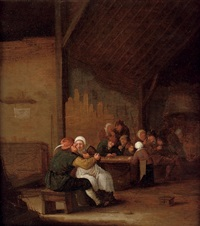 a tavern scene with peasants drinking and smoking by bartholomeus molenaer
