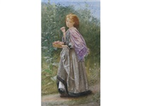 a study of a young girl with a basket of cherries by frederick smallfield