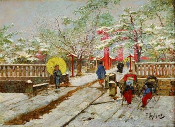 lentrée du jardin japonais sous la neige by francis neydhart