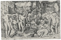 the skeletons (2 works) by baccio bandinelli
