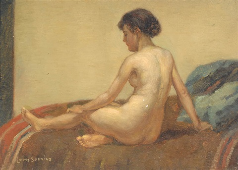 seated nude by louis soonius