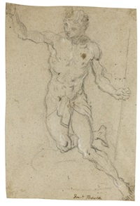study for the figure of saint john the baptist by domenico tintoretto