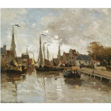a view of a small harbour katwijk  by gerhard arij ludwig morgenstjerne munthe