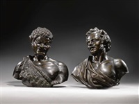 bust of a faun (bust of a moustachioed man; pair) by massimiliano (benzi) soldani