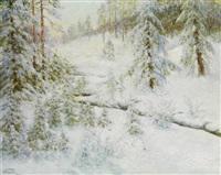 paysage sous la neige by wladimir krivoutz