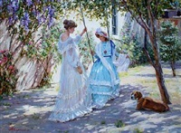 two girls in a garden on a sunny day by aleksandr averin