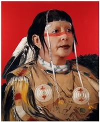 refiguration self-hybridation, série indienne-américaine, n°18, portrait peint de sha-có-pay, le six, chef des plaines ojibwa by orlan