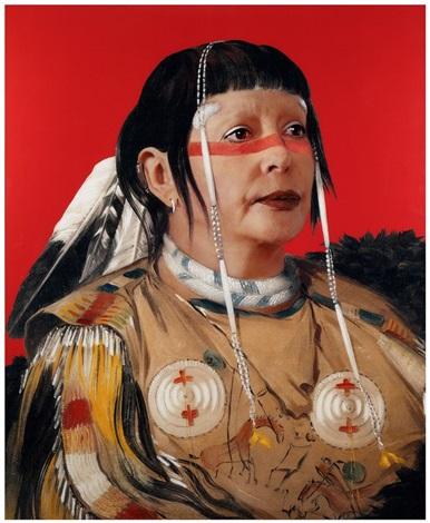 refiguration self hybridation série indienne américaine n°18 portrait peint de sha có pay le six chef des plaines ojibwa by orlan