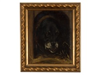 painting of a rottweiler by wilhelm maria hubertus leibl